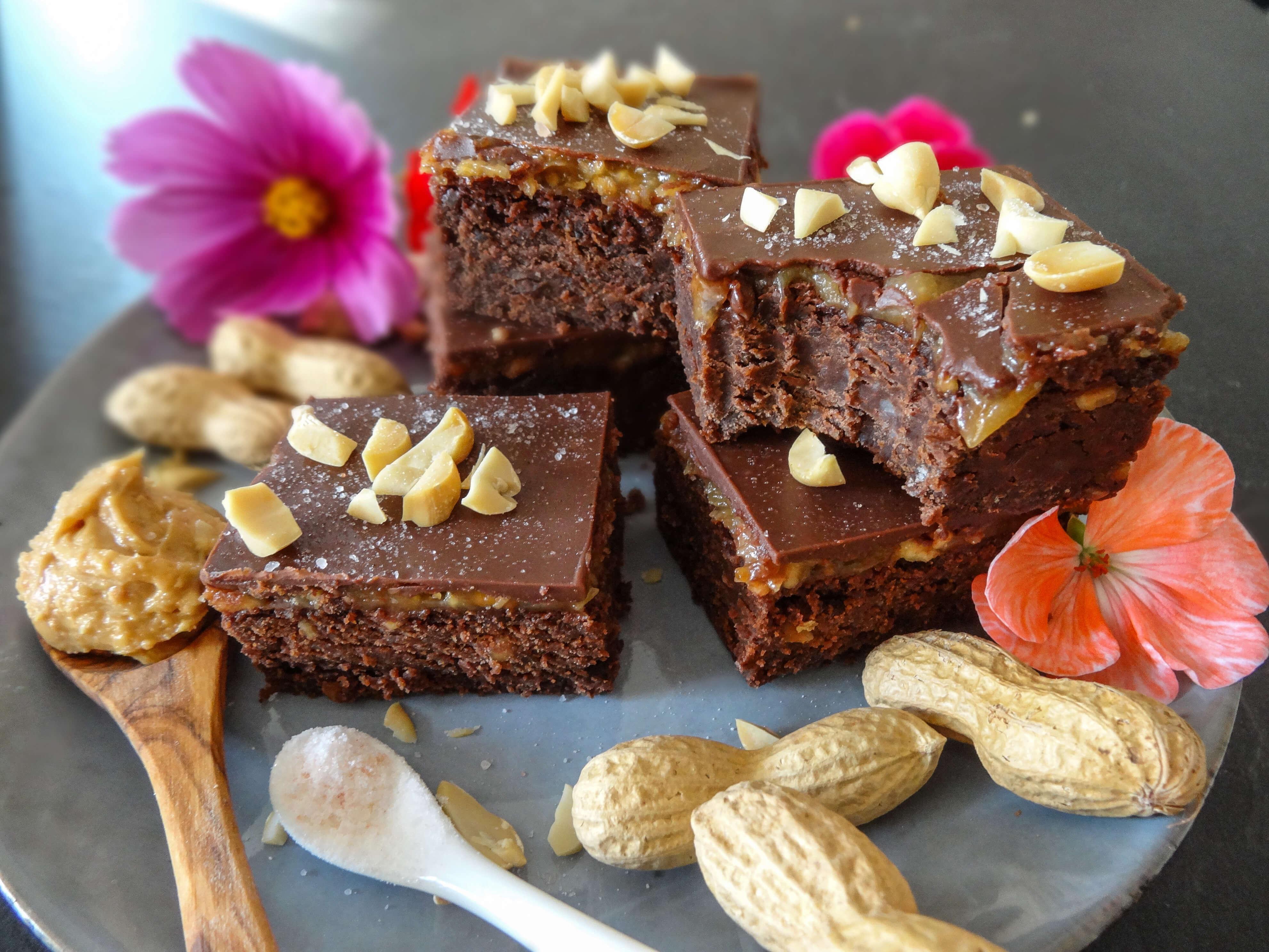 Schokoladige Erdnussbutter Brownies, vegan